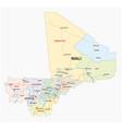 road and administrative map republic mali vector image vector image