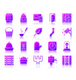 sauna equipment simple gradient icons set vector image