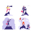 set businesspeople standing on mountain top vector image vector image