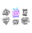 set love lettering phrases for banner or vector image