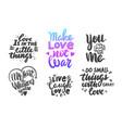 set love lettering phrases for banner vector image