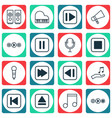 set of 16 audio icons includes audio buttons vector image vector image