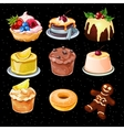 Set of 9 desserts icons on a black background vector image