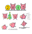 set of cute and funny pigs vector image