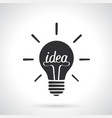 silhouette light bulb with word idea and shine vector image