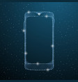smartphone touch screen display on blue space vector image