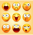 smileyemoticons set yellow face with emotions vector image