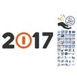 Start 2017 Year Caption Icon With 2017 Year Bonus vector image vector image