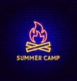 summer camp neon label vector image vector image