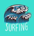 surf badge retro wave vintage surfer logo vector image vector image