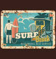 surfing metal plate rusty surfer with surfboard vector image