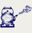 Tea kettle on gas stove vector image