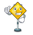 thumbs up warning attention sign shaped character vector image