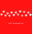 valentines day banner with hang decorative hearts vector image