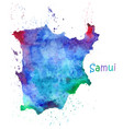 watercolor map koh samui stylized image vector image