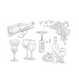 wine set hand drawn wine objects bottle vector image