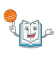 with basketball opened book on the cartoon table vector image