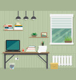 work room interior vector image vector image