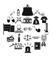 wrongdoing icons set simple style vector image vector image