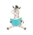 Zebra Smiling Bookworm Zoo Character Wearing vector image vector image