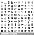 100 settings icons set simple style vector image vector image