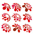 abstract circle logotype set red dotted round vector image