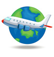 Airplane flying around the world vector image vector image