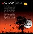autumn sunset vector image