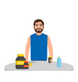 bearded male athlete drinks protein and bcaa the vector image vector image