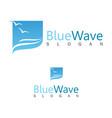 blue wave logo vector image vector image