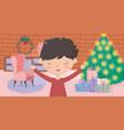 boy living room tree sofa gifts wall brick merry vector image