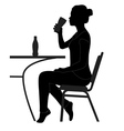 cafe girl drinking sihouette vector image