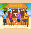cartoon people relax at beach bar vector image vector image