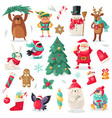 christmas characters cartoon animals bullfinch vector image