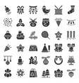 christmas ornaments icon set solid glyphs design vector image