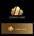 cloud technology shape gold logo vector image vector image