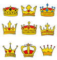collection various crown glamour style doodles vector image vector image
