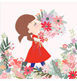 cute cartoon girl kid and her flower bunch vector image