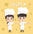 cute chef welcome vector image vector image