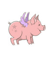 cute winged piglet outline vector image vector image