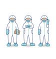 doctor nurse medical hospital people with hazmat vector image vector image