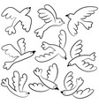 doodle cute flying birds icon set vector image vector image