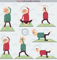 Elderly people yoga lifestlye vector image vector image