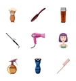 Hair cut icons set cartoon style vector image vector image