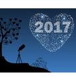 Happy New Year 2017 starburst heart vector image vector image