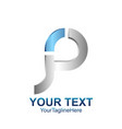 initial letter p logo template colored silver vector image
