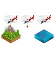 isometric helicopter dropping water on a fire vector image vector image