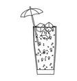 line delicious cold beverage glass with umbrella vector image vector image