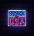 made in usa neon sign in usa symbol vector image vector image