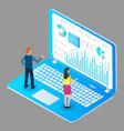 man and woman study financial charts bar charts vector image